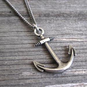 Men's Necklace - Men's Anchor Neckl..