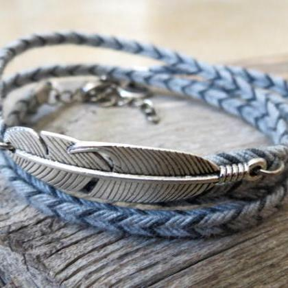 Men's Bracelet - Men's Feather Brac..