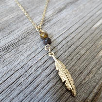 Men's Necklace - Men's Feather Neck..