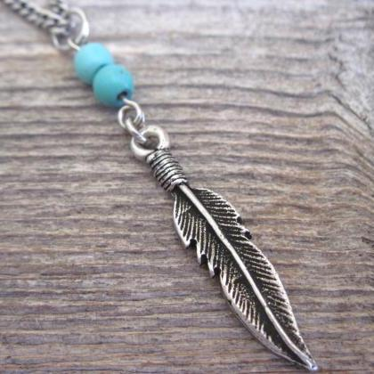 Men Necklace - Men Feather Necklace..