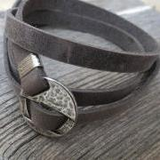 Men's Bracelet - Gray Leather Bracelet With Silver Circle Element - Men's Jewelry - Geometric Jewelry - Gift for Him