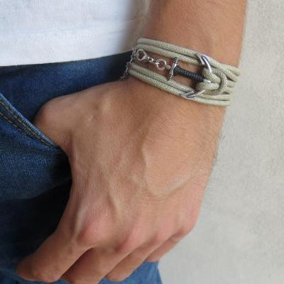 Men's Bracelet - Beige Fabric Bracelet With Silver Plated Anchor - Men's Jewelry - Nautical Jewelry - Anchor Jewelry - Gift for Him