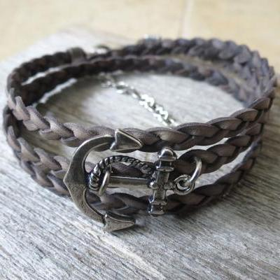 Men's Bracelet - Gray Leather Bracelet With Silver Plated Anchor - Mens Jewelry - Nautical Jewelry - Anchor Jewelry