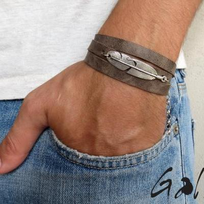 Men's Bracelet - Men's Feather Bracelet - Men's Leather Bracelet - Men's Jewelry - Men's Gift - Boyfrienf Gift - Husband Gift - Gift for him