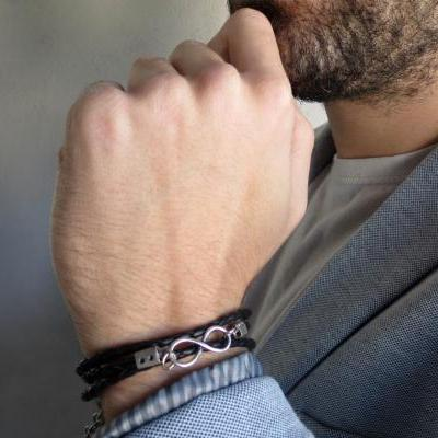 Men's Bracelet - Men's Infinity Bracelet - Men's Black Bracelet - Men's Leather Bracelet - Men's Jewelry - Men's Love Bracelet