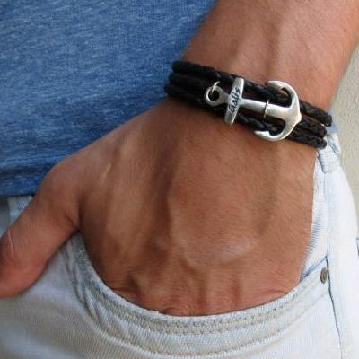 Men's Bracelet - Men's Anchor Bracelet - Men's Leather Bracelet - Men's Black Bracelet - Mens Jewelry - Jewelry For Men - Gift's For Men