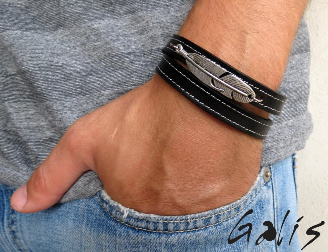 Men's Bracelet - Men's Feather Bracelet - Men's Leather Bracelet - Men's Jewelry - Men's Gift - Boyfrienf Gift - Husband Gift - Gift for him - Gift For Dad - Present For Men - Mlae Jewelry - Male Bracelet