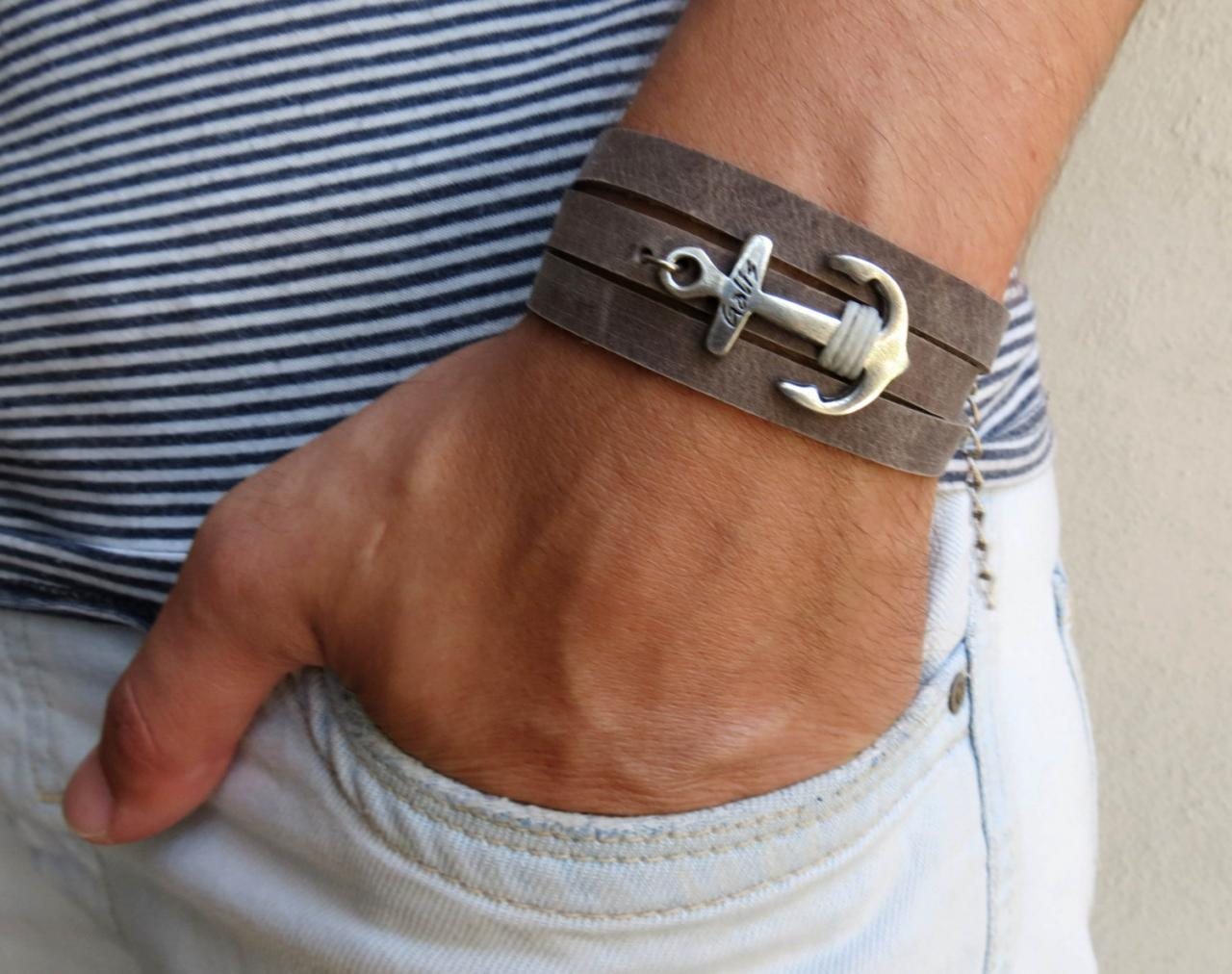 Men's Bracelet - Men's Anchor Bracelet - Men's Leather Bracelet - Men's Jewelry - Men's Gift - Boyfrienf Gift - Husband Gift - Gift for him - Gift For Dad - Present For Men