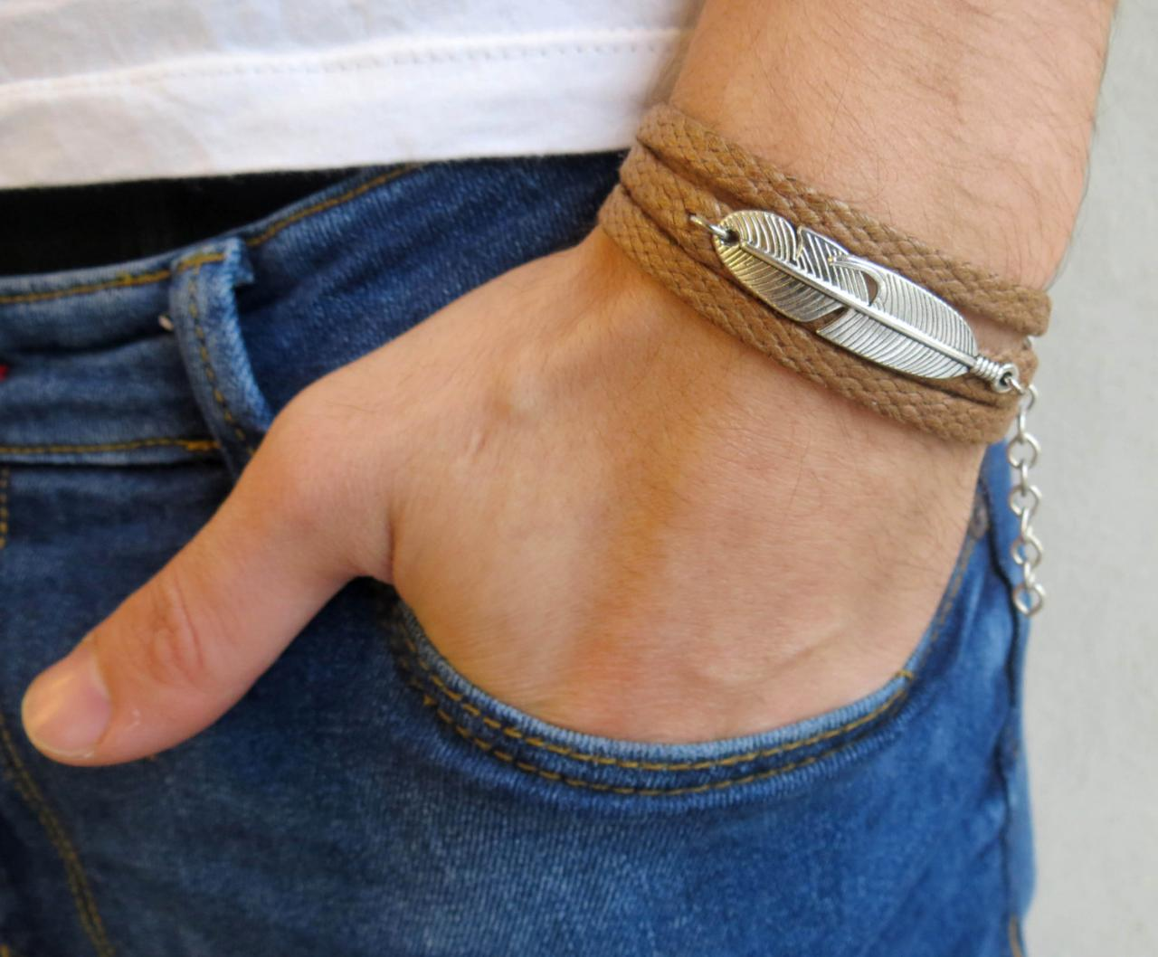 Men's Bracelet - Men's Feather Bracelet - Men's Vegan Bracelet - Men's Jewelry - Men's Gift - Boyfrienf Gift - Husband Gift - Gift for him - Gift For Dad - Present For Men - Male Bracelet - Male Jewelry