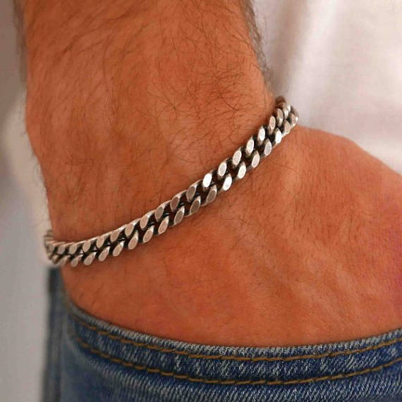 Men's Bracelet - Men's Silver Bracelets - Men's Chain Bracelet - Men's Cuff Bracelet - Men's Jewelry - Gift for Him - Men's Gifts - Boyfriend Gift - Husband Gift - Present For Men - Gift For Dad - Male Jewelry - Male Bracelet