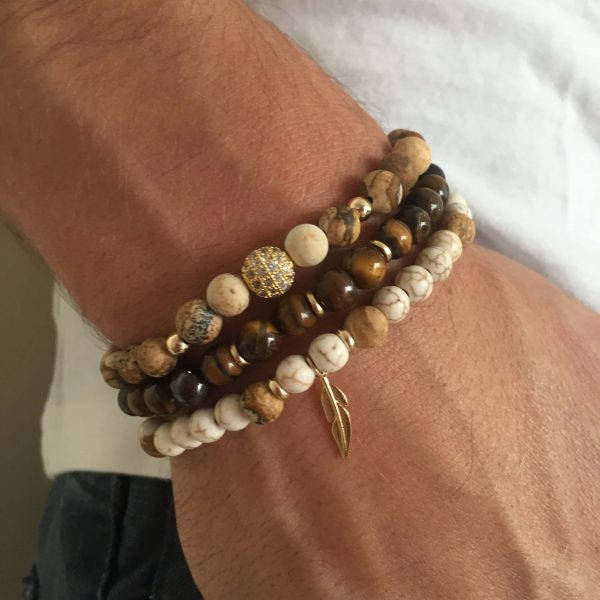 Men's Bracelet Set - Set of 3 Bracelets For Men - Men's Beaded Bracelet - Men's Jewelry - Men's Gift - Boyfriend Gift - Husband Gift