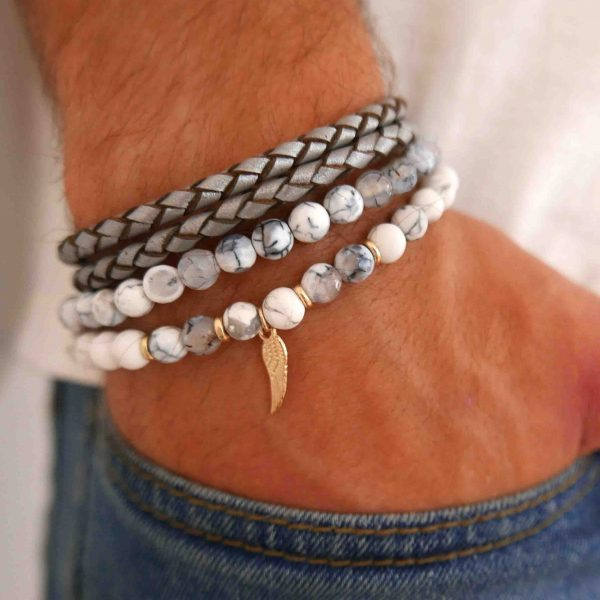Men's Bracelet Set - Set of 2 Bracelets For Men - Men's Beaded Bracelet - Men's Leather Bracelet - Men's Jewelry - Men's Gift - Boyfriend Gift - Husband Gift