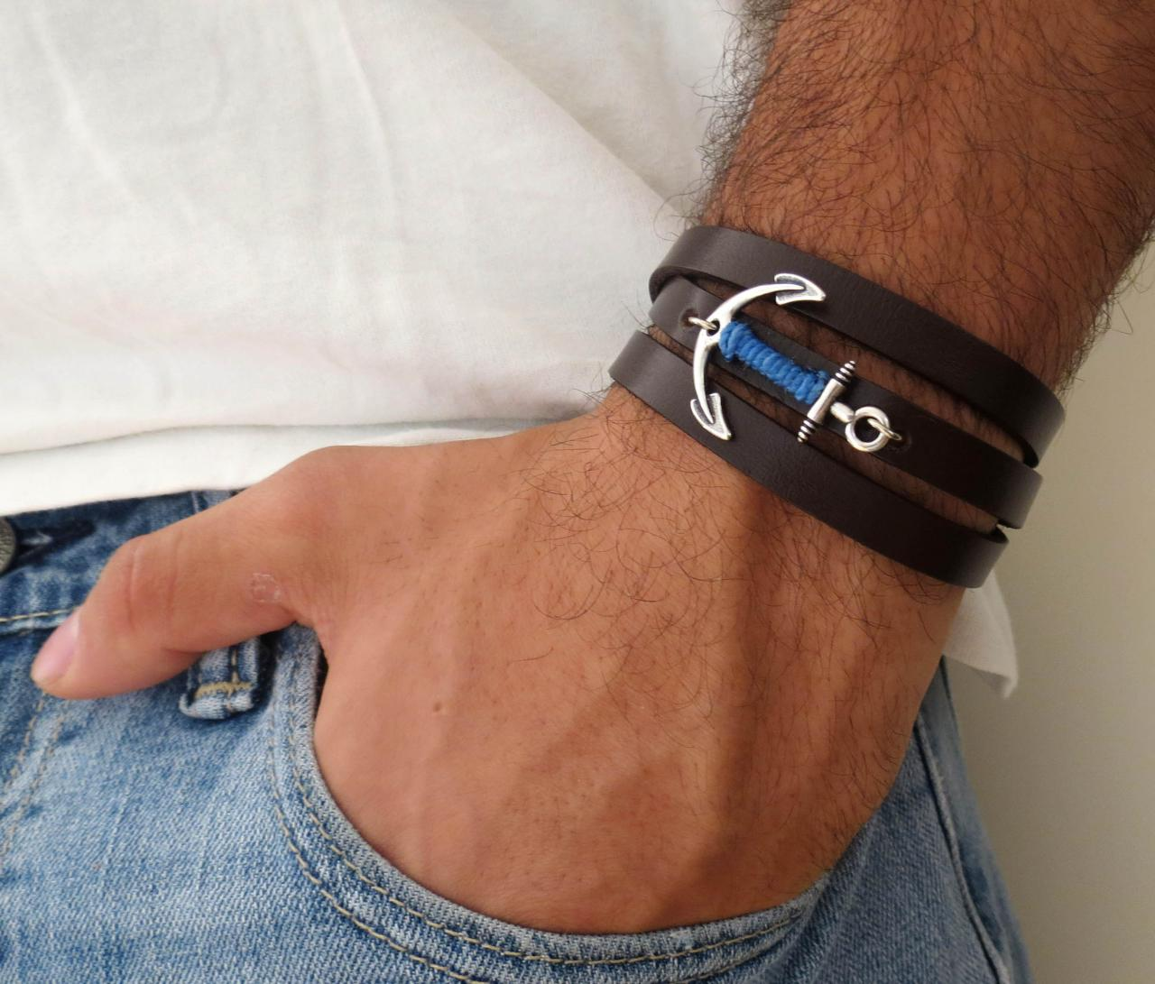 Men's Bracelet - Men's Anchor Bracelet - Men's Leather Bracelet - Men's Brown Bracelet - Mens Jewelry - Jewelry For Men - Gift for Him