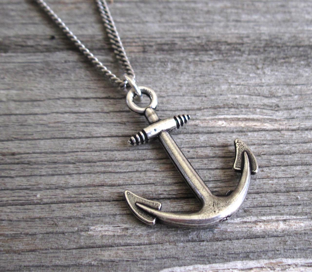 Men's Necklace - Men's Anchor Necklace - Men's Silver Necklace - Mens Jewelry - Necklaces For Men - Jewelry For Men - Gift for Him