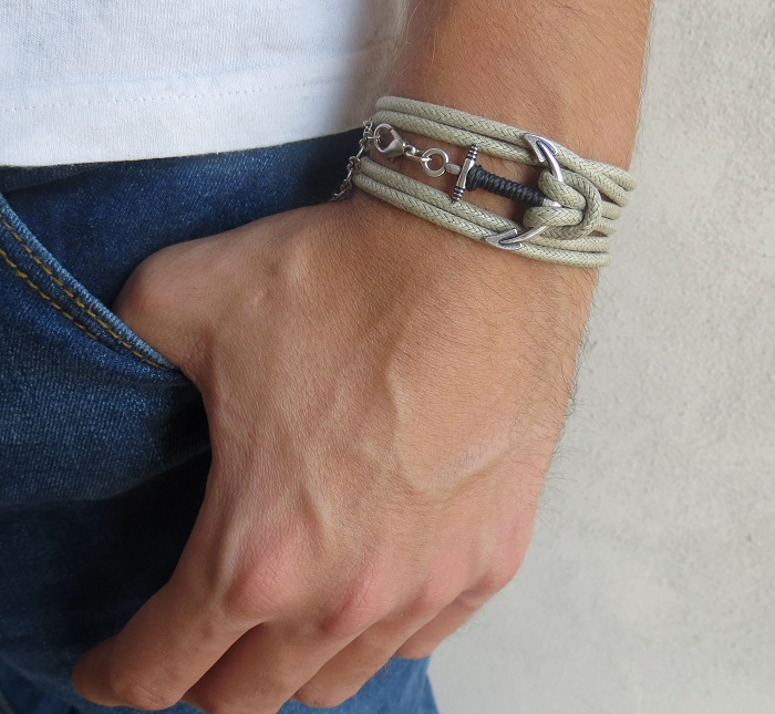 Men S Bracelet Anchor Nautical Vegan Jewelry Gift Boyfrienf Husband