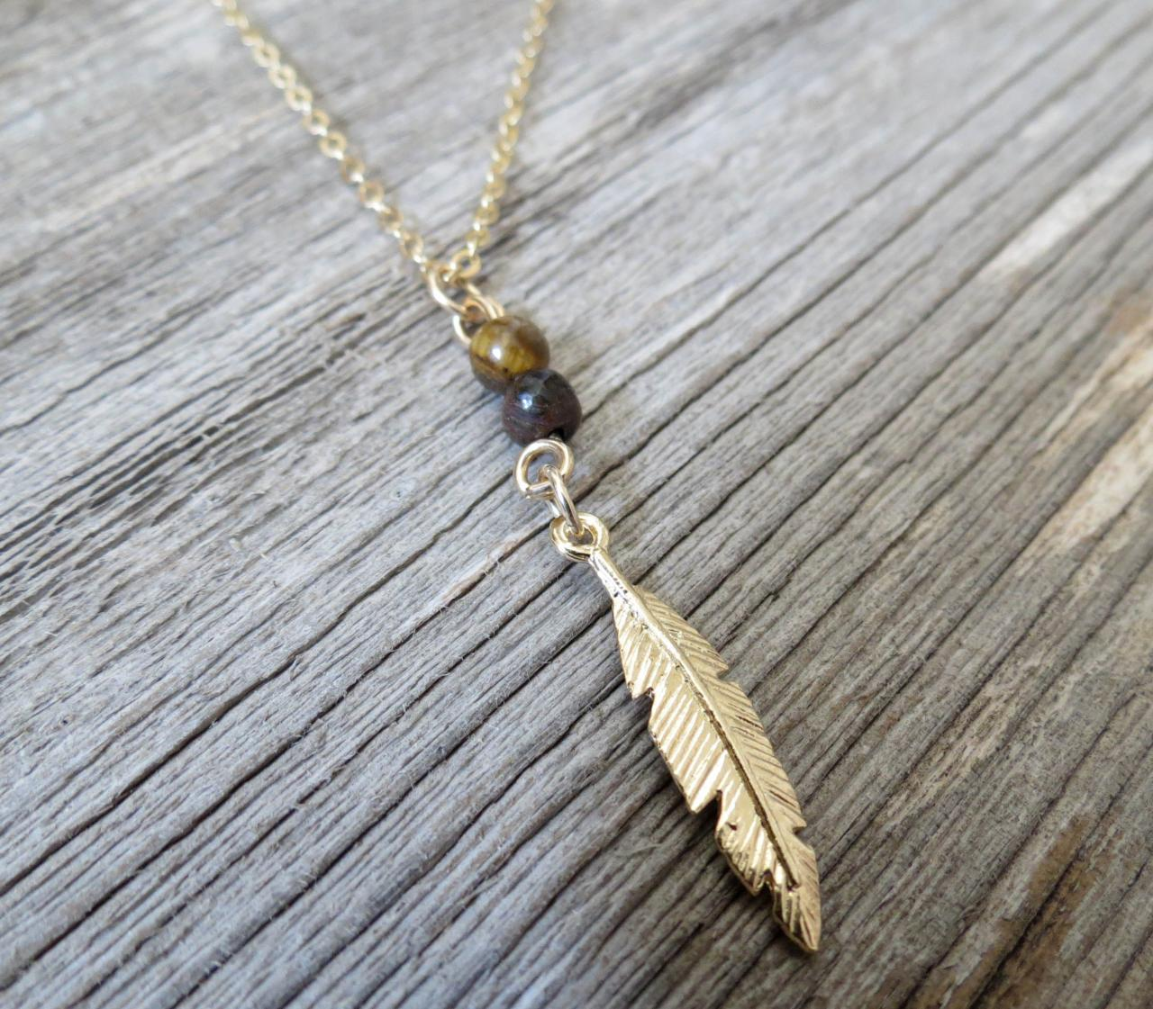 Men's Necklace - Men's Feather Necklace - Men's Gold Necklace - Mens Jewelry - Necklaces For Men - Jewelry For Men - Gift for Him