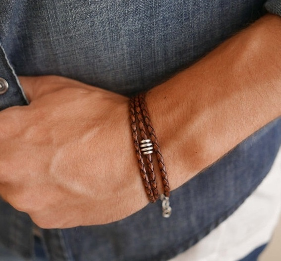 Men's Bracelet - Men's Beaded Bracelet - Men's Leather Bracelet - Men's Jewelry - Men's Gift - Boyfrienf Gift - Husband Gift - Gift for him