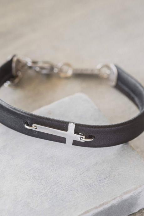 Men's Cross Bracelet - Men's Religious Bracelet - Men's Christian Bracelet - Men's Leather Bracelet - Men's Jewelry - Men's Christian Gift