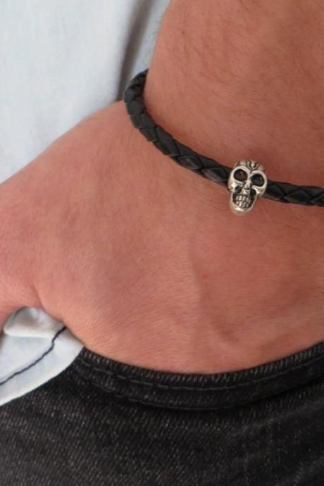 Men's Bracelet - Men's Skull Bracelet - Men's Cuff Bracelet - Men's Leather Bracelet - Men's Jewelry - Men's Gift - Boyfrienf Gift - Husband Gift - Gift for him - Gift For Dad - Present For Men