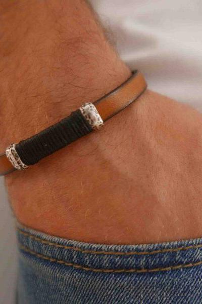 Men's Bracelet - Men's Leather Bracelet - Men's Cuff Bracelet - Men's Jewelry - Men's Gift - Boyfrienf Gift - Husband Gift - Gift for him - Present For Men - Gift For Dad
