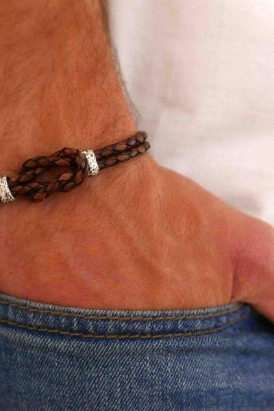 Men's Bracelet - Men's Knot Bracelet - Men's Leather Bracelet - Men's Cuff Bracelet - Men's Jewelry - Men's Gift - Boyfrienf Gift - Husband Gift - Gift for him - Present For Men - Gift For Dad