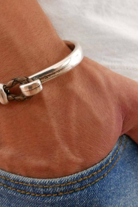 Men's Bracelet - Men's Silver Bracelet - Men's Leather Bracelet - men's Cuff Bracelet - Men's Jewelry - Men's Gift - Boyfrienf Gift - Husband Gift - Gift for him - Gift For Dad - Present For Men - Male Jewelry