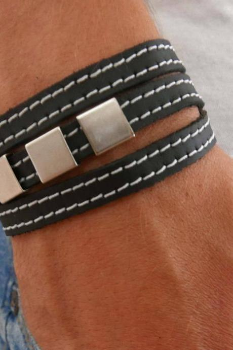Men's Bracelet - Men's Geometric Bracelet - Men's Leather Bracelet - Men's Jewelry - Men's Gift - Boyfrienf Gift - Husband Gift - Gift for him - Gift For Dad - Present For Men - Male Jewelry