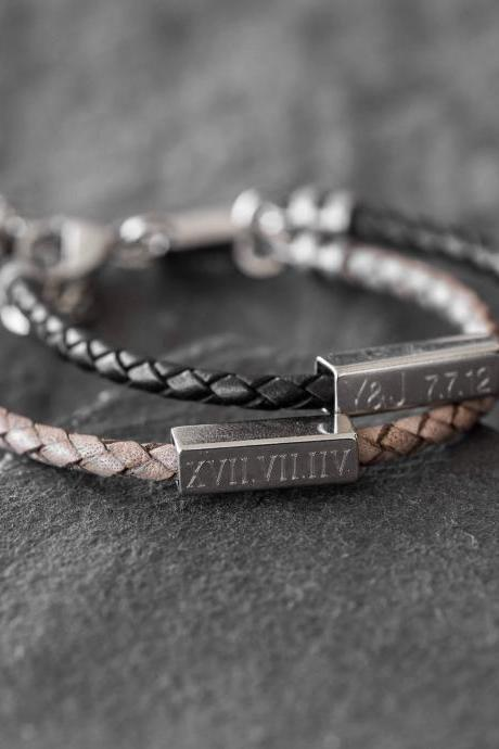 Men's Personalized Bracelet - Men's Custom Bracelet - Men's Engraved Bracelet - Personalized Leather Bracelet - Boyfriend Gift - Husband Gift