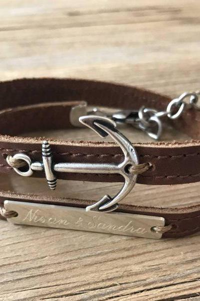Men's Personalized Bracelet - Men's Engraved Bracelet - Men's Anchor Bracelet - Customized Men Bracelet - Men's Initial Bracelet - Men's Coordinates Bracelet
