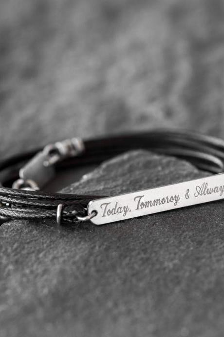Men's Engraved Bracelet - Men's Personalized Bracelet - Men's Custom Bracelet - Message Bracelet - Husband Gift - Anniversary Gift - Coordinates Bracelet - Personalized Jewelry