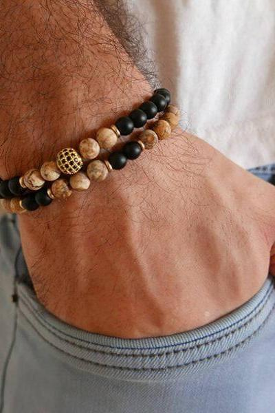 Men's Bracelet Set - Set of 2 Bracelets For Men - Men's Beaded Bracelet - Men's Jewelry - Men's Gift - Boyfriend Gift - Husband Gift