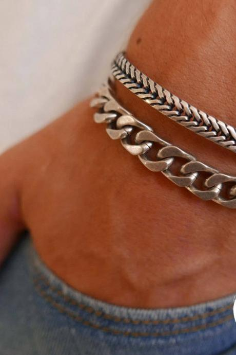 Men's Bracelet Set - Set of 2 Bracelets For Men - Men's Chain Bracelet - Men's Silver Bracelet - Men's Jewelry - Men's Gift