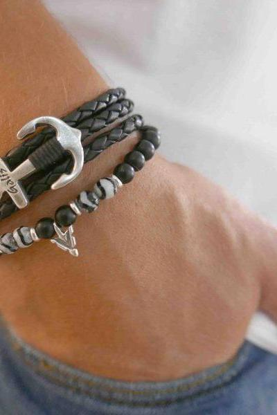 Men's Bracelet Set - Set of 2 Bracelets For Men - Men's Anchor Bracelet - Men's Beaded Bracelet - Men's Leather Bracelet - Men's Jewelry - Men's Gift - Boyfriend Gift - Husband Gift