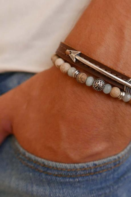 Men's Bracelet Set - Set of 2 Bracelets For Men - Men's Arrow Bracelet - Men's Beaded Bracelet - Men's Leather Bracelet - Men's Jewelry - Men's Gift - Boyfriend Gift - Husband Gift