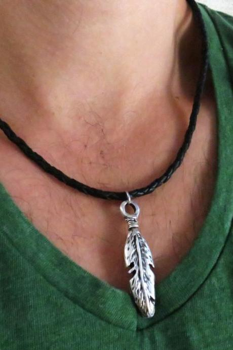 Men's Necklace - Men's Feather Necklace - Men's Leather Necklace - Men's Jewelry - Men's Gift - Boyfriend Gift - Husband Gift - Gift For Dad