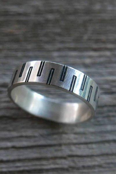 Men's Ring - Men's Silver Ring - Men's Band - Men's Silver Band - Men's Jewelry - Men's Gift - Husband Gift - Boyfriend Gift - Gift For Dad