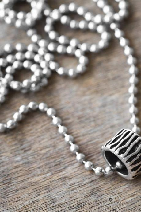 Men's Necklace - Men's Silver Necklace - Men's Bead Necklace - Men's Jewelry - Men's Gift - Men's Pendant - Boyfriend Gift - Husband Gift
