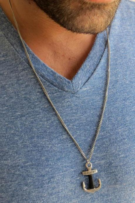 Men's Necklace - Men's Silver Necklace - Men's Anchor Necklace - Men's Jewelry - Men's Gift - Men's Pendant - Boyfriend Gift - Husband Gift - Male Jewelry