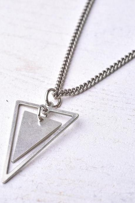Men's Necklace - Men's Silver Necklace - Men's Triangle Necklace - Men's Geometric Necklace - Men's Jewelry - Men's Gift - Men's Pendant - Boyfriend Gift - Husband Gift - Male Jewelry