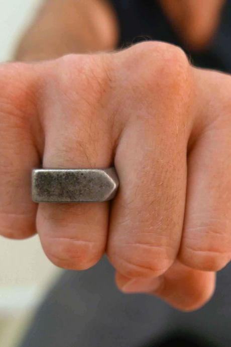 Men's Ring - Men's Silver Ring - Men's Stainless Steel Ring - Men's Silver Band - Men's Jewelry - Men's Gift - Husband Gift - Boyfriend Gift