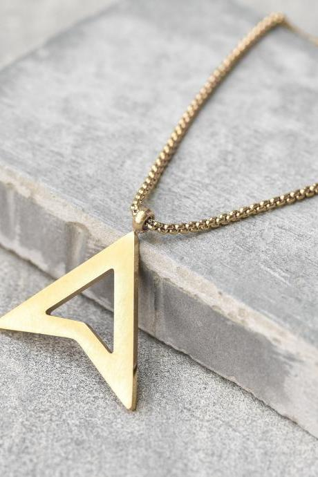 Men's Gold Necklace - Men's Stainless Steel Necklace - Men's Geometric Necklace - Men's Pendant - Men's Jewelry - Boyfriend Gift - Husband Gift