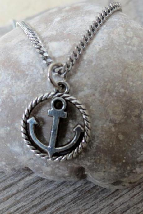 Men Necklace - Men Silver Necklace - Men Anchor Necklace - Men Jewelry - Men Gift - Boyfriend gift - Husband Gift - Present Fo Men - Male Jewelry - Male Necklace