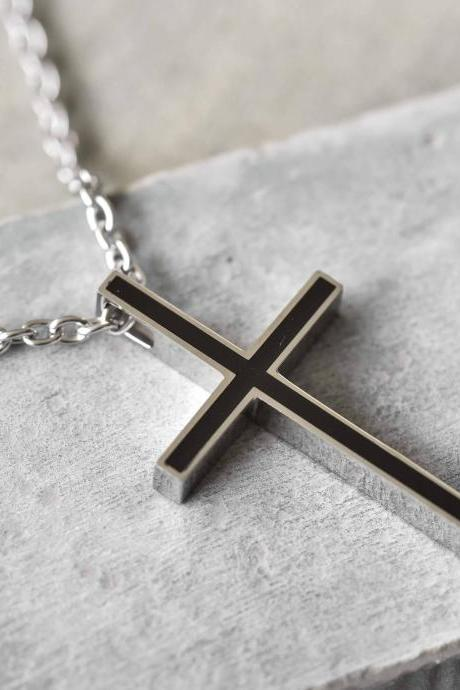 Men's Cross Necklace - Men's Religious Necklace - Men's Cross Pendant - Men's Christian Necklace - Men's Cross Jewelry - Christian Jewelry
