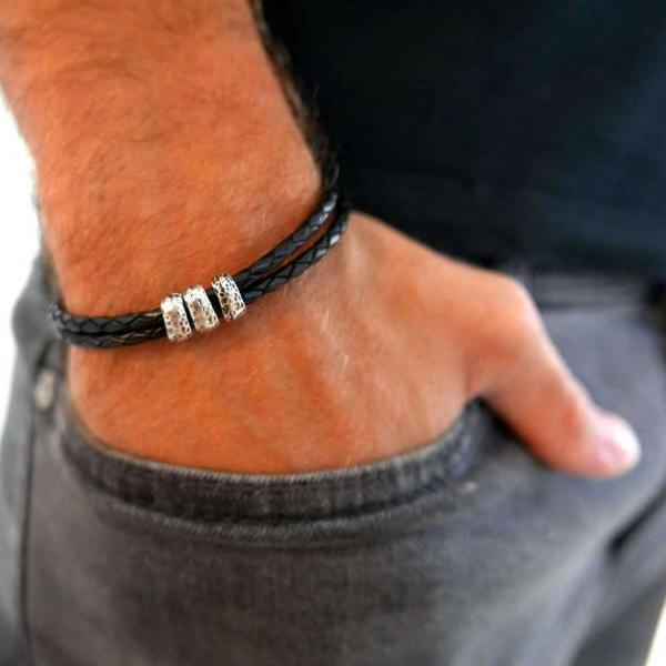 Men's Bracelet - Men's Leather Bracelet - Men's Beaded Bracelet - Men's Jewelry - Men's Gift - Boyfrienf Gift - Husband Gift - Gift for him - Gift For Dad - Present For Men - Male Jewelry - Male Bracelet