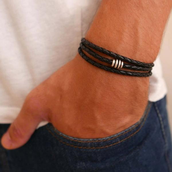 Men's Bracelet - Men's Leather Bracelet - Men's Beaded Bracelet - Men's Jewelry - Men's Gift - Boyfrienf Gift - Husband Gift - Gift for him - Present For Men - Gift For Dad