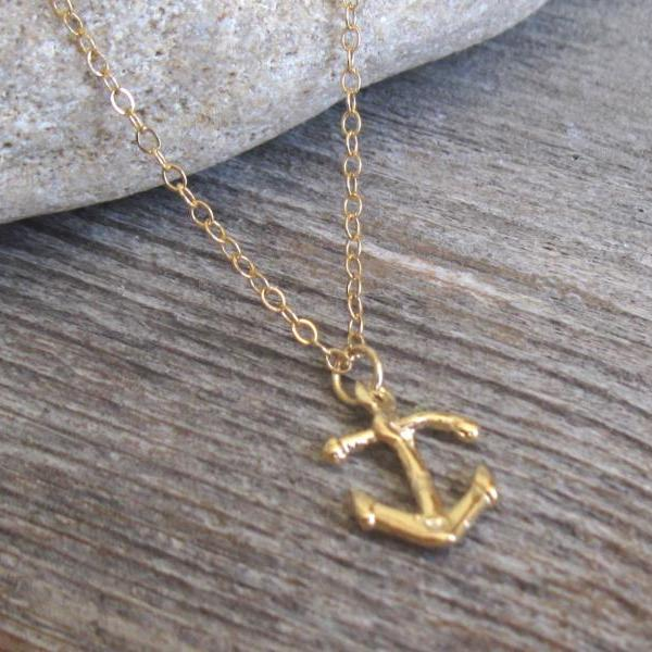 Men's Necklace - Men's Anchor Necklace - Men's Gold Necklace - Men's Jewelry - Men's Gift - Boyfriend Gift - Husband Gift - Present For Men
