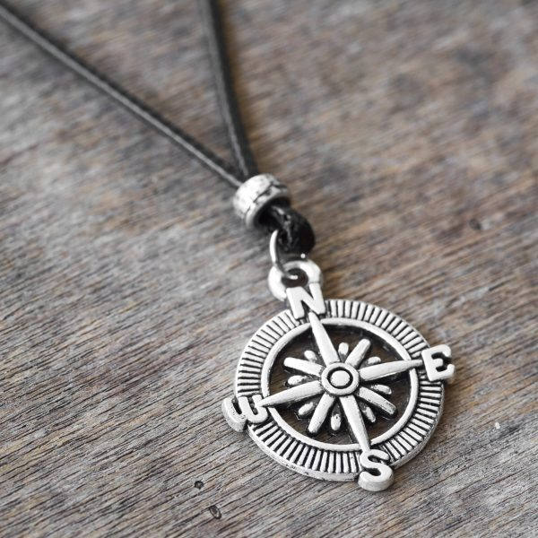 Men's Necklace - Men's Compass Necklace - Men's Silver Necklace - Mens Jewelry - Necklaces For Men - Jewelry For Men - Gift for Him
