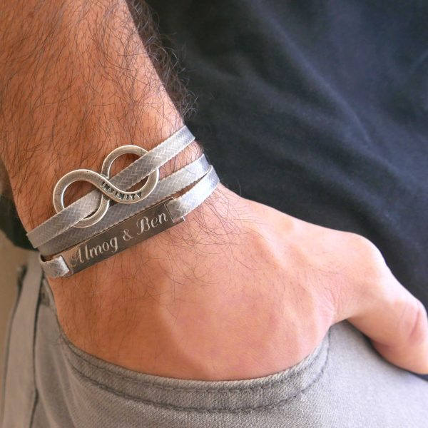 Men's Infinity Bracelet - Men's Personalized Bracelet - Men's Engraved Bracelet - Customized Men Bracelet - Men's Initials Bracelet - Custom