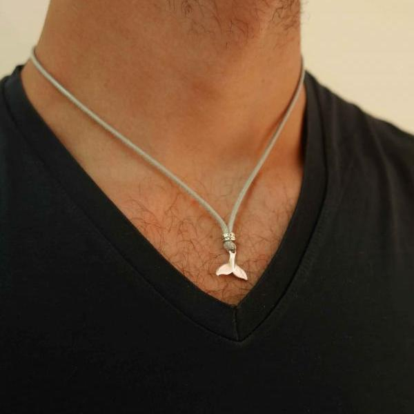 Men's Necklace - Men's Silver Necklace - Men's Whale Tail Necklace - Men's Jewelry - Men's Gift - Boyfriend Necklace - Guys Jewelry - Male