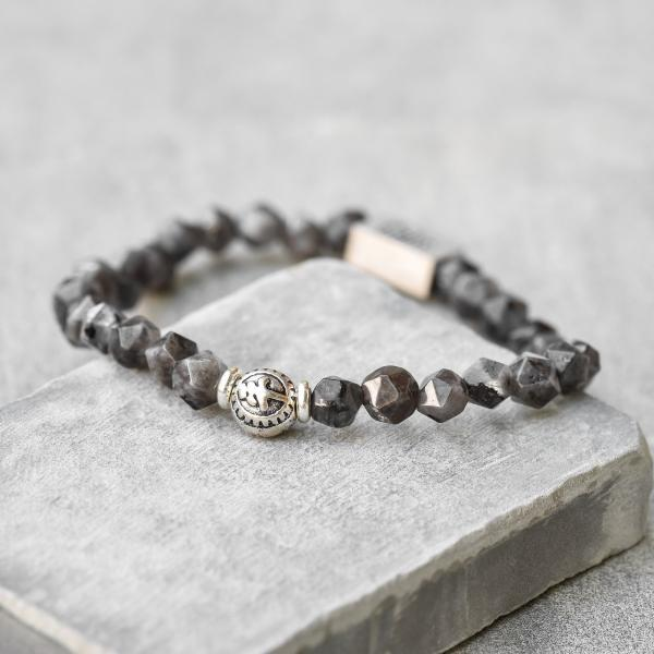 Men's Gemstone Bracelet - Men's Beaded Bracelet - Men's Strech Bracelet - Men's Labradorite Bracelet - Men's Bracelet - Men's Jewelry - Male